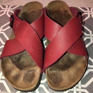 Birkenstocks Birkis line -Red Sandal size 8/ 8 1/2